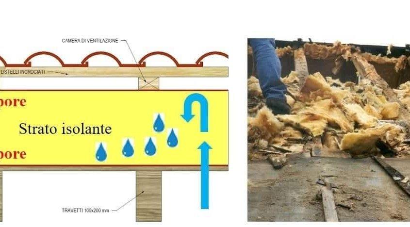 doppia barriera al vapore per tetti in legno: esempio di conseguenze in caso di errori di posa s