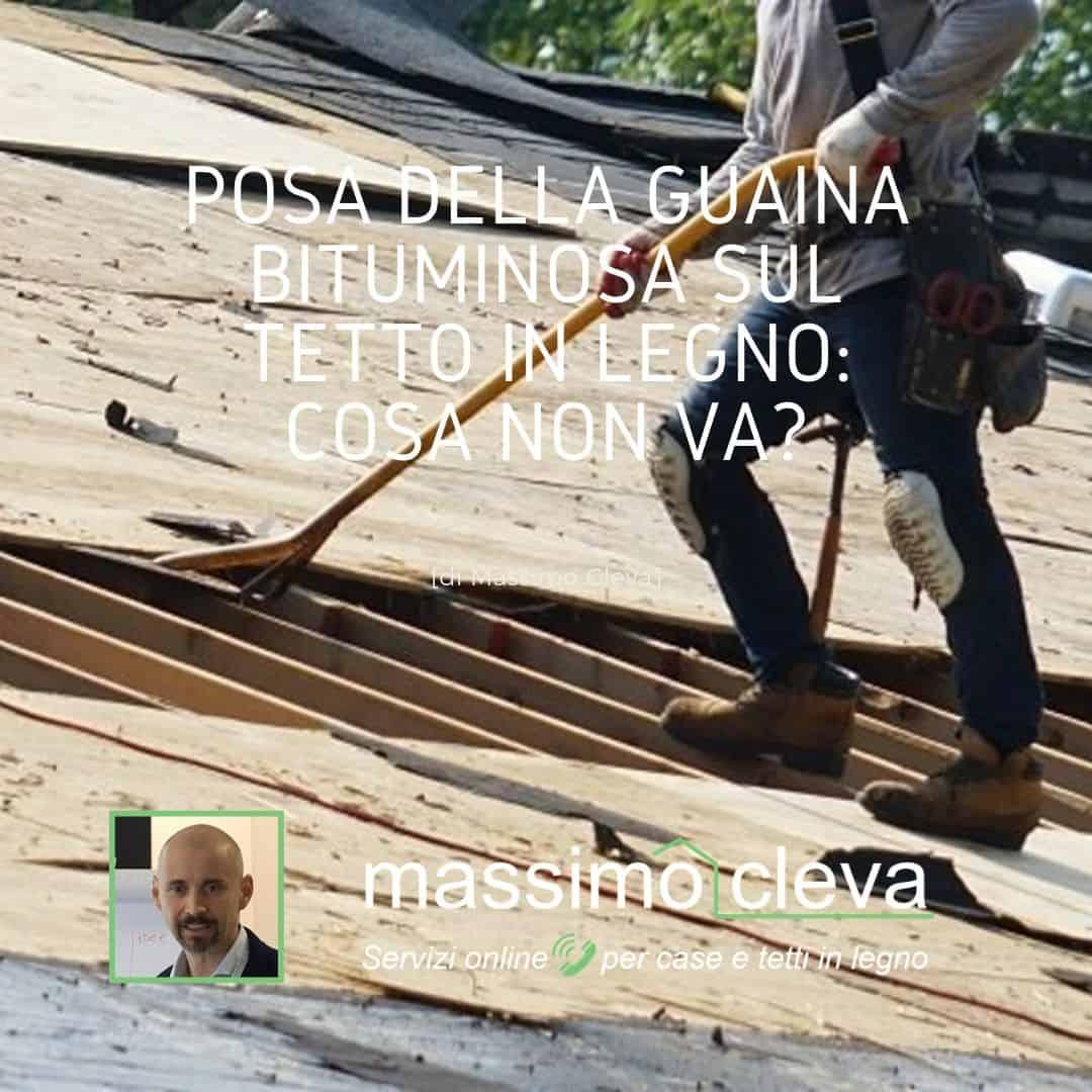 Posa di guaina bituminosa su tetto in legno